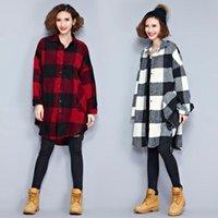bamboo grid - New Fall women coat Fan long sleeved woolen grid fashion loose wool coat stitching