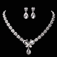 amazing butterflies - Amazing Cheap Butterfly Wedding Jewelry Sets Rhinestones Crystal Bridal Necklace and Earrings Sets For Prom Party Hot