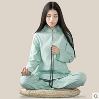 bamboo cotton clothing - bamboo Cotton and linen yoga meditation Women long sleeve yoga clothes Tai chi suit