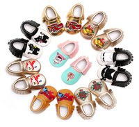 baby brands usa - Christmas baby shoes Snowman spiderman cats moccasins tassels infants brand soft PU leather first walker boy girl shoes European USA gifts
