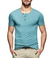 Wholesale Mens Henley Shirt Short Sleeve Smooth Fitted T shirt Basic Tee Colors M L XL XXL