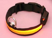 Wholesale Brand new Pet supplies series LED Nylon Dog collars large pet night safty LED light up flashing colors