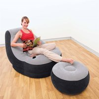 flocked inflatable sofa bed - Original Genuine INTEX inflatable flocking single sofa beanbag bed recliner
