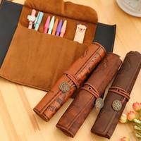 Wholesale Kids School Bags Leather - Pencil Bags Treasure Map Pen Bag Antique Nautical Pencil Case Big Capacity Pencil Bag Soft Leather Boxes Women Men Children Kids Xmas WX-P03