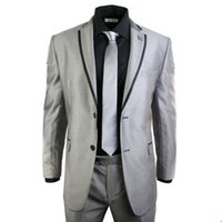 Wholesale Shiny Black Jackets For Men - Shiny Light Gray Tuxedos for Groom Groomsmen Trim Fit Two Buttons Mens Wedding Party Suits Best Man Formal Wears(Jacket+pants)