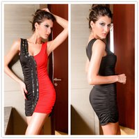 authentic vintage t shirts - Red and black sleeveless halter sexy nightclub bar rivet Europe and the United authentic dress DFMD101 summer Spot Dress for women