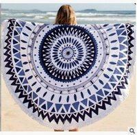 Wholesale Hot round beach towel printed holiday towel cm beach fringed shawl round cotton summer beach towels colors DHL