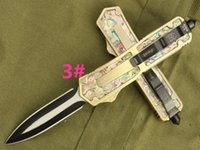 abalone hunting - scarab gold Abalone shell models Hunting Folding Pocket Knife Survival Knife Xmas gift for men copies freeshipping