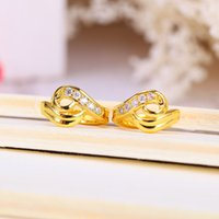 Wholesale 2016 mm Brand New Golden Earrings Gold plated Heart Shape Crystal Earrings Fashion Jewelry Hot Sale Classic Accessories 4