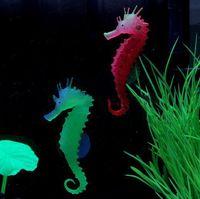 Wholesale Environmental and friendly Luminous Sea Horse Hippocampus Aquarium silicone Fish Tank Decoration