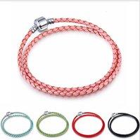 basic double - DIY Pandora genuine leather bracelet mm silver Basic Bracelets double circle leather rope chain Fit European Charm Beads