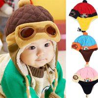 Wholesale Boys Winter Warm Cap Hat Beanie Baby Flight Earflap Cap Children Boys Girls Winter Plus Velvet Knitted Hats