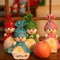 apple ornaments - Christmas tree ornaments Xmas Candy gift bags Christmas Apple hang bags Snowman style Christmas Dinner Decorations