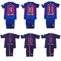 barcelona youth football - 2016 NEW Barcelona Kids home Soccer Jersey Messi Boys Set jerseys football children Youth Soccer Jerseys