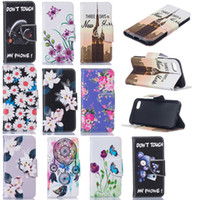 bear paintings - Cartoon Painting Leather Wallet Flower Bear Butterfly Tower Case For Iphone Plus Samsung S6 S7 edge Note A310 LG