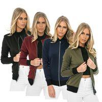 aviator bomber jacket - Bomber Jacket Women Spring Autumn Long Sleeve Zipper Baseball Football Aviator Jacket Casual Mujer Jaqueta Basic Coats