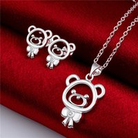 bear skeleton - High grade sterling silver Bear zircon piece jewelry sets DFMSS724 brand new Factory direct sale wedding silver necklace earring