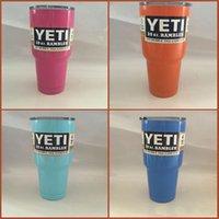 Wholesale YETI oz Cup Cooler Yeti Rambler Tumbler Vehicle Beer yeti Mug Tumblerful Bilayer Vacuum Insulated Stainless Steel with YETI logo