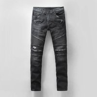 Wholesale 2016 New Balmain Men Black Straight Distressed Ripped Denim Casual Pants Skinny Jeans Biker Jeans for men