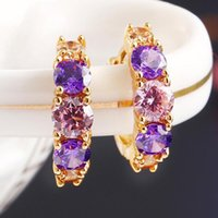 Wholesale 18KGP Fashion Zircon Stud Earrrings Jewelry Top Grade Crystal Jewelry Charm Earrings Women Fine Drop Earrings Jewelry D704
