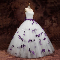 beaded butterfly applique - New Wedding Dresses White Strapless Ball Gown Floor Length Dress Bow Ribbon Beaded Pearls Purple Butterfly Bridal Gowns