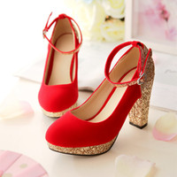 Wholesale Red gold Wedding Shoes Glitter covered heel platform Bridal Shoes Ankle Strap Chunky Heels pumps Red rubble Sole colors Size to