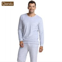 bamboo pajama pants - Autumn Qianxiu Brand homewear couples Pajama sets Male Pearl cotton Sleepwear suit Men solid long sleeve shirts pants