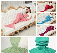 baby blanket knitting - 50X90 CM colors Fashion Knitted Mermaid Blanket Blanket Sleeping Costume Blanket For baby