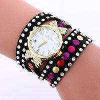 Wholesale fashion women ladies diamond rivets bracelet watch retro vine leather straps casual girls dress quartz watches