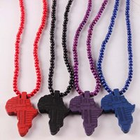 africa pendant sale - hot sale Hip hop Necklace Wooden Hand drawn GOOD WOOD NYC Map of Africa Beaded rosary jewelry Factory Cheap Price