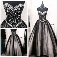 Wholesale 2016 Vintage Black and White Gothic Wedding Dresses A Line Crystals Sweetheart Neck Long Floor Length Bridal Gowns Corset Back Top Quality
