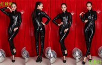 Wholesale Women s leather Sexy SetS Siamese patent leather corset queen fitted leather sack suit uniform temptation nightclub Lin Tai sexy lingerie