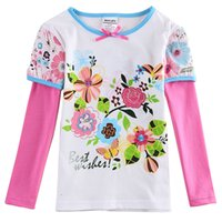animal freshness - Brand New fashion girl s long sleeve shirt cotton five colors drop shipping white freshness striped butterfly T shirtf5971