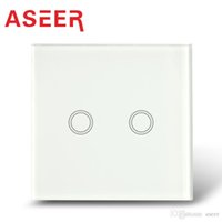 Wholesale Aseer Brand EU Standard Way Electrical Touch Switches AC110 V Overload Protect Crystal Tempered Glass blue LED indicator CE FCC ROHS