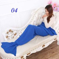 Wholesale 2016 New Spring Bedding Sofa Mermaid Blanket Wool Knitting Fish Style Little Tail Blankets Warm Sleeping Child Princess Loves Gift cm