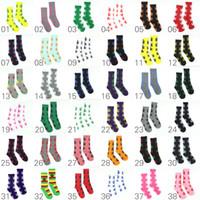 Wholesale 38 Colors Cotton High Crew Socks Skateboard hiphop socks Leaf Maple Leaves Stockings Men Women Sports Socks ELS006