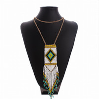 america ornament - Bohemia wind fashion sales in Europe and America long hand woven Tassel Necklace Jewelry ornament beads personality