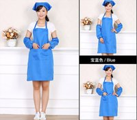 cotton apron - Free logo printing Women Apron Korean Waiter Aprons With Pockets Restaurant Kitchen Cooking Shop Art Work Apron
