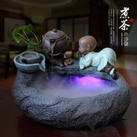 bamboo pond fountain - Creative novices novices indoor fish pond rockery water fountain humidifier bonsai feng shui ornaments Lucky Wheel
