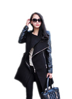 Wholesale Autumn Winter Spliced Pu Leather Sleeves Long Coat Female Slim Patchwork Trench Women Manteau Femme Casacos WCB0011