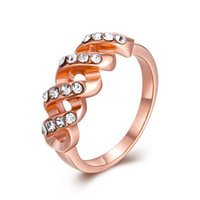 Wholesale New Fashion High Quality Personality Women Classic Rings Rose Gold Circle Czech Diamond Women Gift Accessories