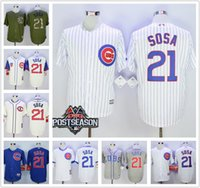 Wholesale Men s Chicago Cubs Jerseys Sammy Sosa Blue White Pinstripe Turn Back Throwback w Postseason Patch Baseball Jerseys Cheap