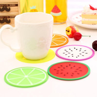 Wholesale Novelty Fruit Design Silicone Coffee Colorful Jelly Color Fruit Shape Coasters Creative Skid Insulation Silica Gel Cup Mat