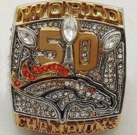 100pcs / lot 2015 2016 Denver Broncos 50 de Super Bowl, anillos de campeonato los anillos mejor réplica para los aficionados - Miller o Manning
