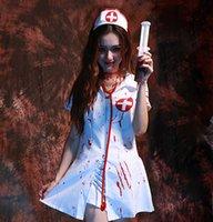 suit fabric - Nurse Dress Zombie Blood Nurse Halloween COS Vampire Female Nurse Suit Stage Performance Clothing Stretch Knitted Fabric Headdress