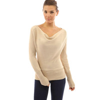 Wholesale European and American Style New Autumn Winter Women Long Sleeve Knitted Tee Slash Neck Slim Waist T Shirts Casual Tees