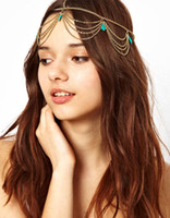 Wholesale Beach Multi Layer Metal Gold Plated Turquoise Pendant Head Chain Hair Jewelry Hair Decoration accesories Boho women Headband ZA0013