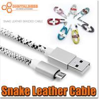 Precio de Snake skin-Micro USB de la serpiente de la piel del cable del cargador de alta velocidad USB 2.0 de sincronización y carga del cable con revestimiento de PU de cuero, 1 m / 3,3 pies