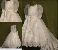 baby blessing dresses - Elegant Hot New Baby Infant Baptism Christening Gown Satin Dress First Bless Size Born Handmade Dress