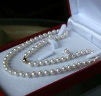 akoya earrings - 8 MM White Akoya Cultured Pearl Necklace Earring Set